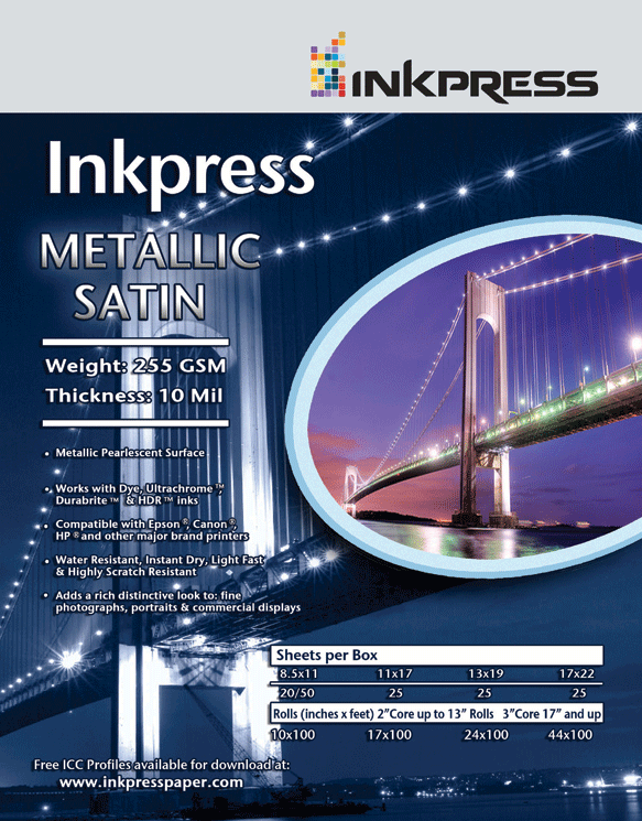Inkpress Metallic Paper Satin 255 Gsm 10 Mil Metallic